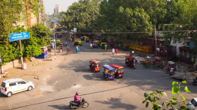 Timelapse shot of busy street in Delhi, India video