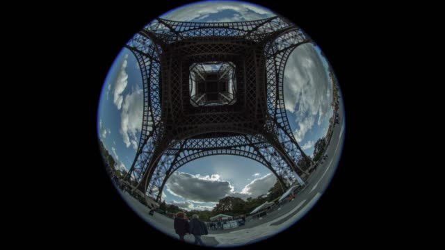 Timelapse shot of people walking and clouds sailing. View under Eiffel Tower