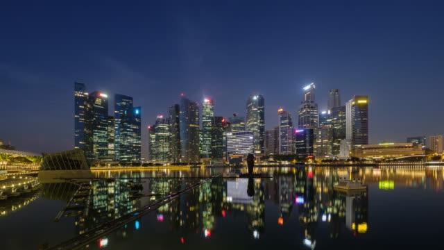 4K time-lapse Singapore city skyline ,night to day sunrise to city video