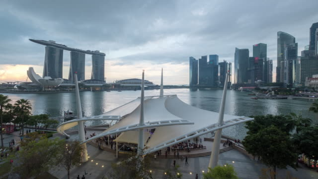 4K Time-lapse Singapore city view day to night beautiful light up video