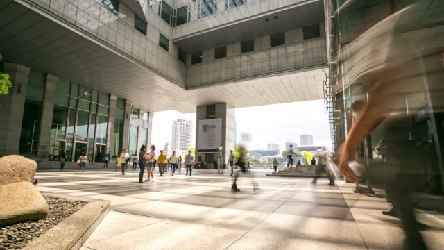 4k time-lapse: singapore cityscape office background with pedestrian - contemporary architecture stock videos & royalty-free footage