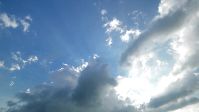 Time-lapse sky with highlighted clouds. Brightness from the sky. video