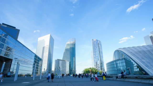 4k time-lapse skyscraper office business building in paris, la defense - time-lapse 4k - concrete architecture stock videos & royalty-free footage