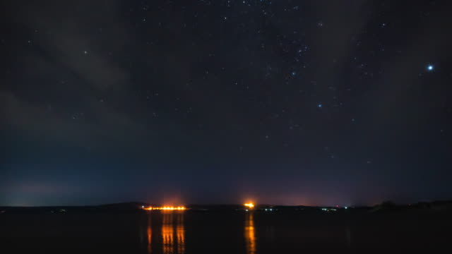Time-lapse: Star Trails Galaxy Cosmos moving over local lake night - vídeo