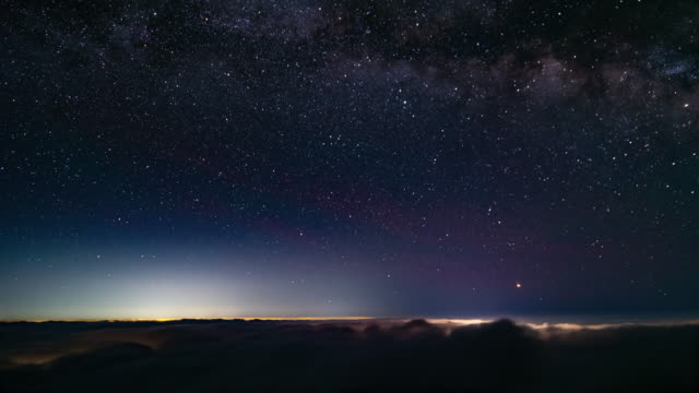 Timelapse - Starry sky above the clouds Time lapse video of the starry sky taken at Mt. Fuji. Starry sky above the sea of clouds is being filmed. star stock videos & royalty-free footage
