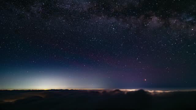 timelapse - bulutların üstünde yıldızlı gökyüzü - yıldız şekli stok videoları ve detay görüntü çekimi