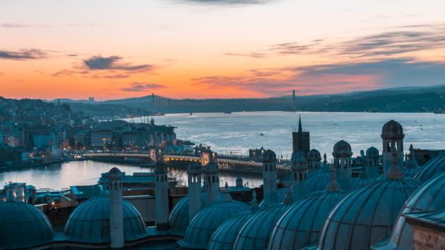 Timelapse Suleymaniye Mosque and Bosphorus Bridge , Sunrise video