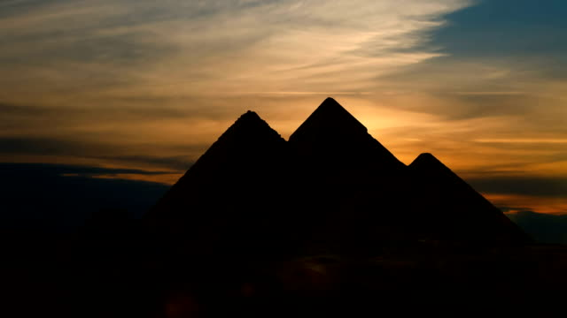 Timelapse. Sunet over the pyramid of Cheops. Giza Egypt. video