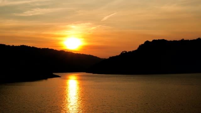 Timelapse Sunset at Khun Dan Dam on early morning in Nakhon Nayok. video