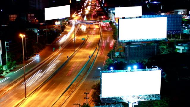 Timelapse super highway with green screen billboard video