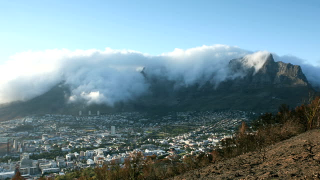 Timelapse Table Mountain Morning Timelapse of the infamous 'table cloth' draped over Table Mountain by the South Easterly wind, known colloquially as the Cape Doctor.  table mountain national park stock videos & royalty-free footage