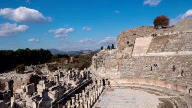 Timelapse Theatre of Ephesus Ancient City at november at sunny day, Turkey. video