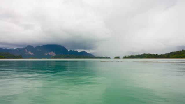 Timelapse thunderstorm over the lake video