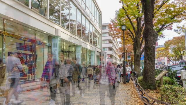 4kタイムラプスチルトダウン: 原宿東京で混雑した歩行者, 日本. - 斜めから見た図点の映像素材/bロール