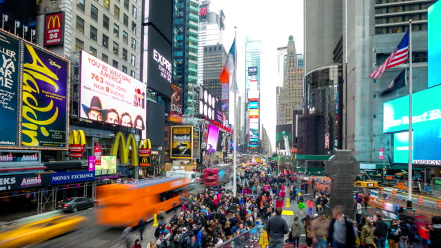 stockvideo's en b-roll-footage met hd time-lapse: times square new york city - noord & zuid amerika