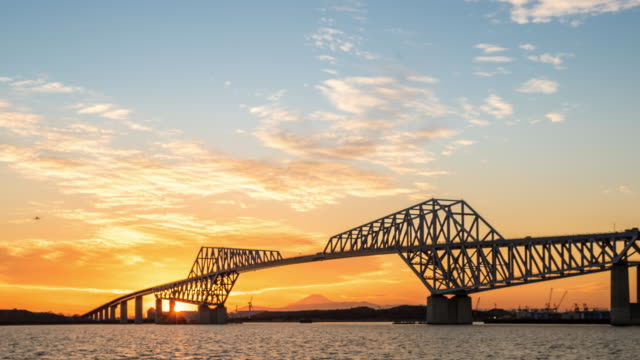 Time-lapse: Tokyo Gate Bridge Japan Sunset video