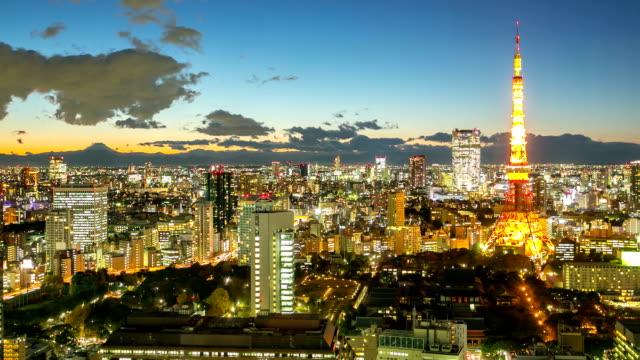 hd :time -lapse (低速度撮影) 東京タワーの夕暮れ - 多重露出点の映像素材/bロール