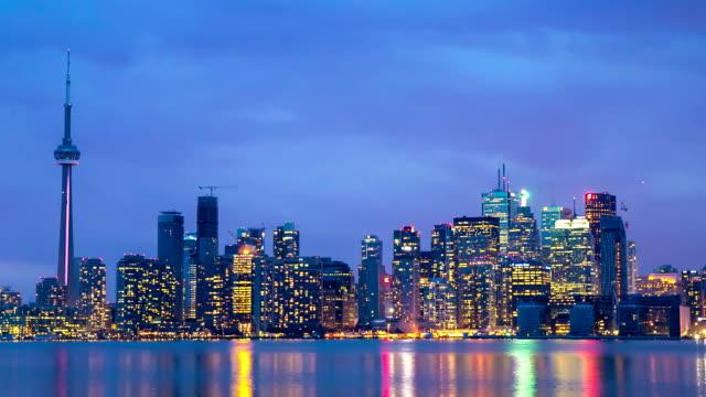 HD Time-lapse: Toronto Skyline Cityscapeat dusk Canada video