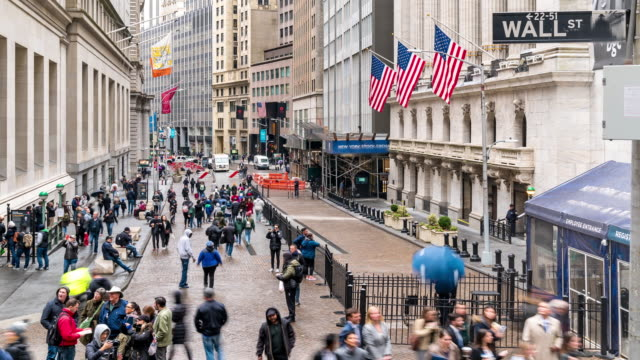Time-lapse: Tourist Businessman and worker Pedestrian crowded at Wall street USA 4K Time-lapse: Time-lapse: Tourist Businessman and worker Pedestrian crowded at Wall street USA, Apple ProRes 422 (HQ) 3840x2160 Format wall street stock videos & royalty-free footage