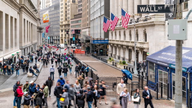 Time-lapse: Tourist Businessman and worker Pedestrian crowded at Wall street New York Stock Exchange building USA 4K Time-lapse: Time-lapse: Tourist Businessman and worker Pedestrian crowded at Wall street New York Stock Exchange building USA, Apple ProRes 422 (HQ) 3840x2160 Format trading stock videos & royalty-free footage