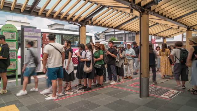 Time-lapse Tourist Crowded at Dazaifu bus station Fukuoka Japan