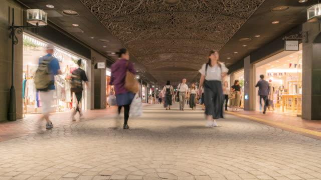 Time-lapse Tourist Crowded at Tenjin Shopping street in Fukuoka cityscape downtown Japan