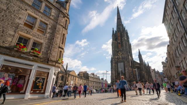 Time-lapse: Tourist Pedestian crowded at Royal Mile in old town Edinburgh Scotland UK
