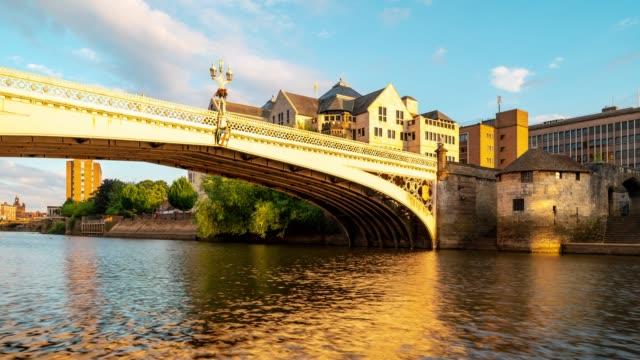 Time-lapse:  Tourist Pedestrian Commuter Crowd along bridge street in York Yorkshire England UK.