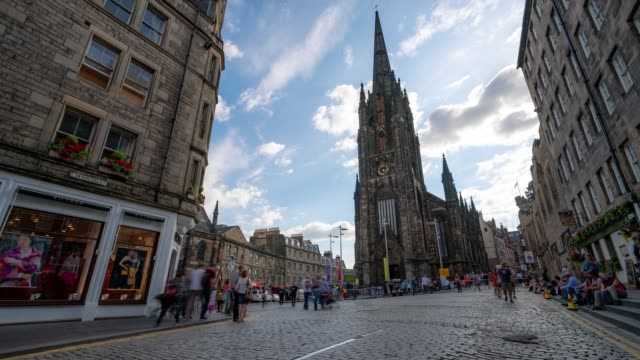 Time-lapse: Tourist Pedestrian crowded at Royal Mile in old town Edinburgh Scotland UK 4K Time-lapse: Tourist Pedestrian crowded at Royal Mile in old town Edinburgh Scotland UK, Apple ProRes 422 (HQ) 3840x2160 Format scotland stock videos & royalty-free footage
