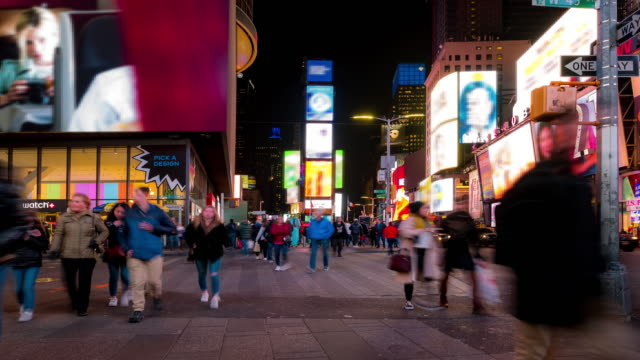 Time-lapse: Tourist Pedestrian crowded at Times Square New York City at sunset night