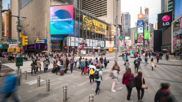 Time-lapse: Tourist Pedestrian crowded at Times Square New York City USA in sunny day 4K Time-lapse: Tourist Pedestrian crowded at Times Square New York City USA in sunny day, Apple ProRes 422 (HQ) 3840x2160 Format time lapse stock videos & royalty-free footage