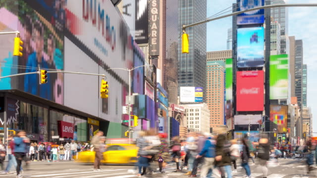 Time-lapse: Tourist Pedestrian crowded at Times Square New York City USA in sunny day 4K Time-lapse: Tourist Pedestrian crowded at Times Square New York City USA in sunny day, Apple ProRes 422 (HQ) 3840x2160 Format midday stock videos & royalty-free footage