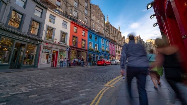 time-lapse: tourist pedestrian crowded at victoria street royal mile in old town edinburgh scotland uk - london architecture stock videos & royalty-free footage
