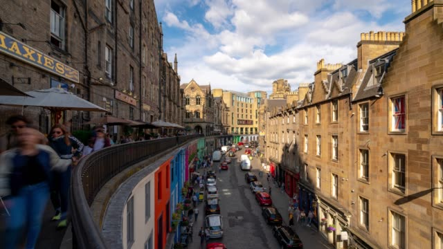 Time-lapse: Tourist pedestrian crowded at Victoria street Royal Mile in old town Edinburgh Scotland UK