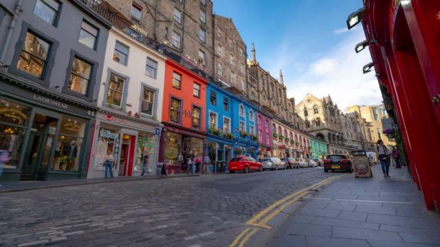 Time-lapse: Tourist pedestrian crowded at Victoria street Royal Mile in old town Edinburgh Scotland UK