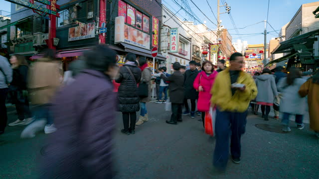 Time-lapse: Tourist pedestrian crowded at Yokohama biggest china town in Japan