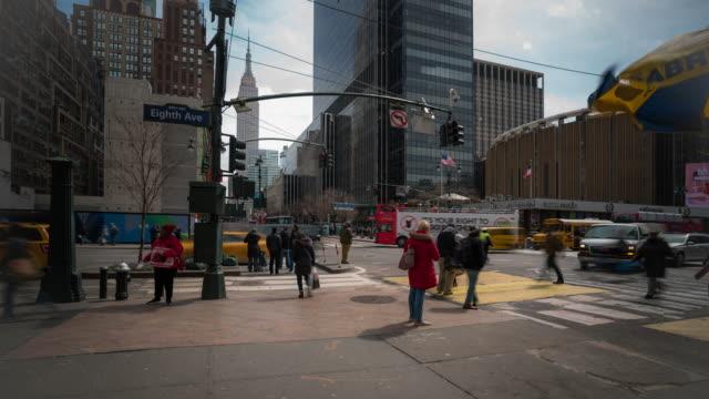 Time-lapse: Tourist Pedestrians Crowd around Madison Square Garden Pennsylvania Station in New York USA