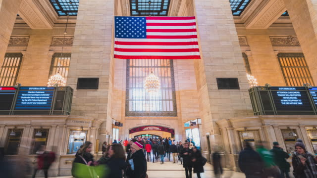 4K Time-lapse Tourist Pedestrians Crowd walk in New York Grand Central train and metro Station travel american lifestyle concept Newyork,United States Newyork