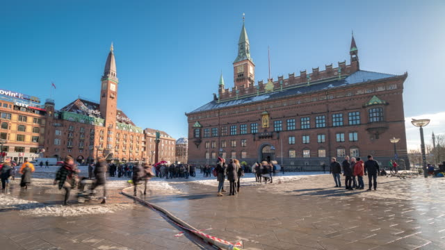 Time-lapse Town Hall of Copenhagen Denmark kobenhavn 4K Time-lapse Town Hall of Copenhagen Denmark kobenhavn, Apple ProRes 422 (HQ) 3840x2160 Format denmark stock videos & royalty-free footage