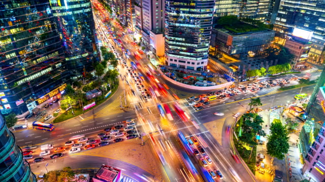 Timelapse Traffic at night in Gangnam City Seoul, South Korea video