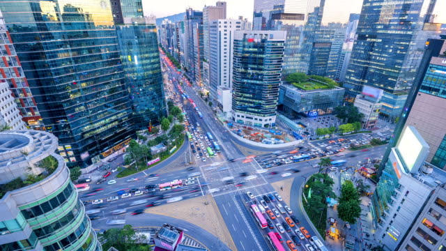 Timelapse Traffic at night in Gangnam City Seoul, South Korea Timelapse Traffic at night in Gangnam City Seoul, South Korea seoul stock videos & royalty-free footage