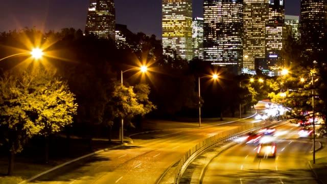 Timelapse traffic into Downtown Houston