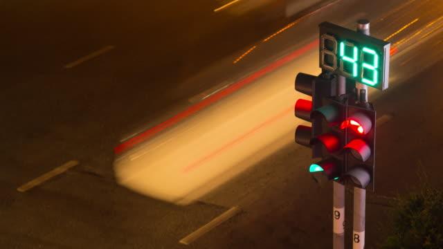 4K Time-lapse: Traffic lights at night video