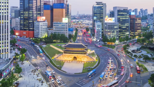 Timelapse Traffic of Seoul City Skyline at Namdaemun Market,South Korea video