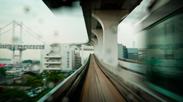 POV Timelapse - Tram speeding through Cityscape video