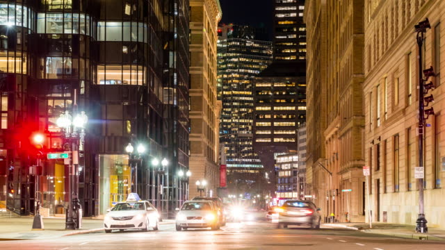 Time-lapse: Transportation and Pedestrians at Boston Downtown MA USA