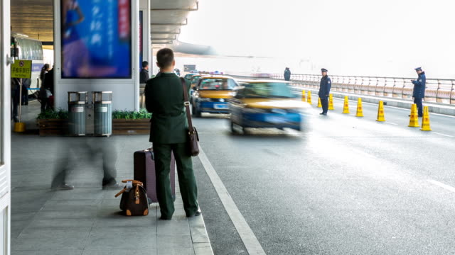 time-lapse: Traveler Crowd at Airport Taxi Stand video