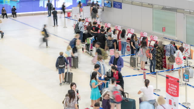 4K time-lapse: Traveler crowded at Airport Departure Check-in hall video