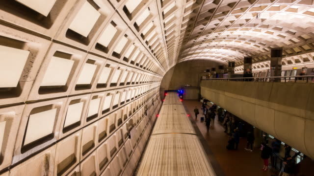 Time-lapse: Traveller Pedestrian crowded at Subway Metro in Washington DC USA