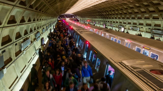 Time-lapse: Traveller Pedestrian crowded at Subway Metro in Washington DC USA 4K Time-lapse: Traveller Pedestrian crowded at Subway Metro in Washington DC USA, Apple ProRes 422 (HQ) 3840x2160 Format railroad station platform stock videos & royalty-free footage